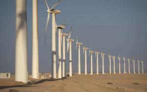 صورة لأحد موقع مشروعات طاقة الرياح فى مصر