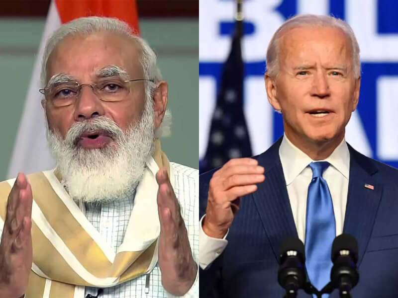 صورة للرئيس الأميركي جو بايدن ورئيس الوزراء الهندي ناريندرا مودي