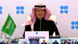 وزير الطاقة السعودي أثناء مشاركته في أحد اجتماعات أوبك+