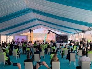 جانب من حفل تدشين وحدة الطاقة الثالثة لمحطة أكويو