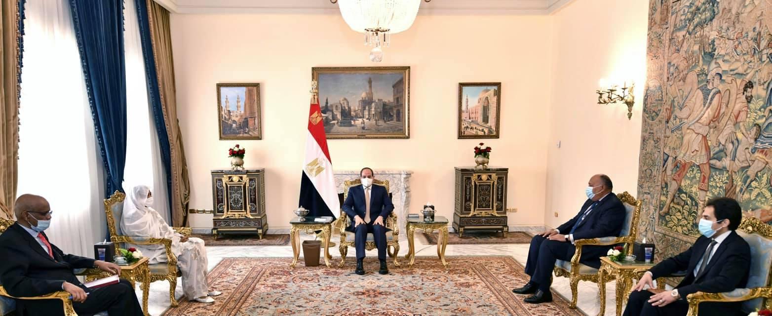 السيسي خلال استقباله وزير خارجية السودان للنقاش حول سد النهضة