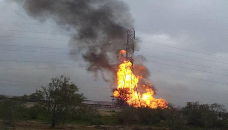 إيران- حريق في أحد خطوط النفط