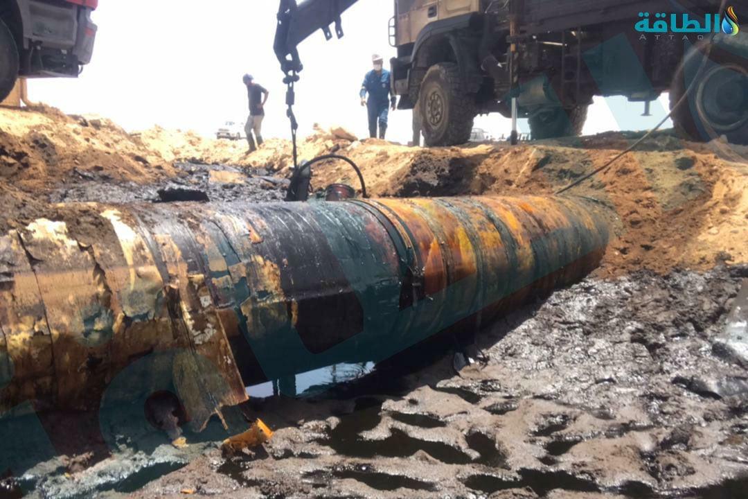 أول صورة بعد إيقاف التسرب النفطي في حقل السماح الليبي