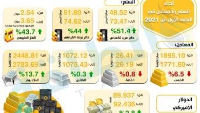 Photo of مكاسب النفط تقارب 50%.. تعرف على أداء السلع والمعادن بالنصف الأول (إنفوغرافيك)