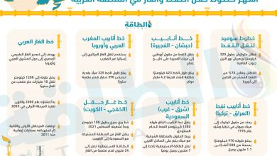 Photo of تعرف على أشهر خطوط نقل النفط والغاز في المنطقة العربية (إنفوغرافيك)