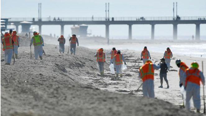 تنظيف شواطئ كاليفورنيا من بقع النفط المتسربة